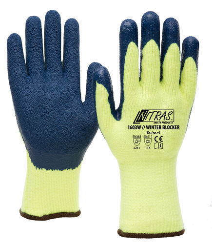 72 Paar NITRAS  WINTER BLOCKER  Latex, gelb-blau 10 Groesse 10